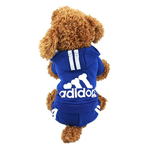 Idepet(TM Adidog Pet Dog Cat Clothes 4 Legs Cotton Puppy Hoodies Coat Sweater Costumes Dog Jacket (XS, Navy Blue) for $<!--$9.29-->