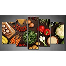 5 Panel Wall Art Fresh Look Color Healthy Eating Of A Table Top Full Of Fresh Vegetables Fruit And Other Healthy Foods Painting Pictures Print On Canvas Fruit The Picture For Home Modern Decoration