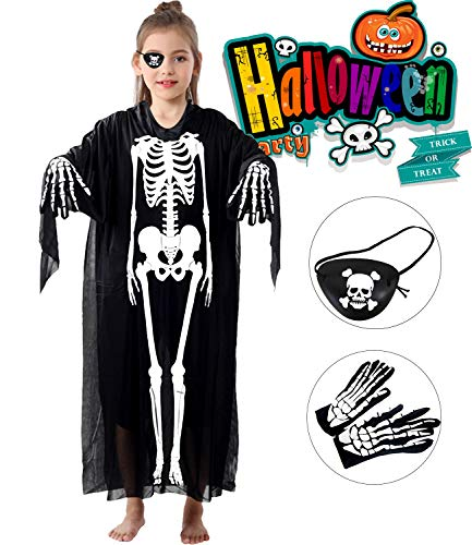 Halloween Skeleton Costumes for Women Men Girls Boys Cloak Cape Scary Ghost Dress up Cosplay Robes with Gloves Eye Patch