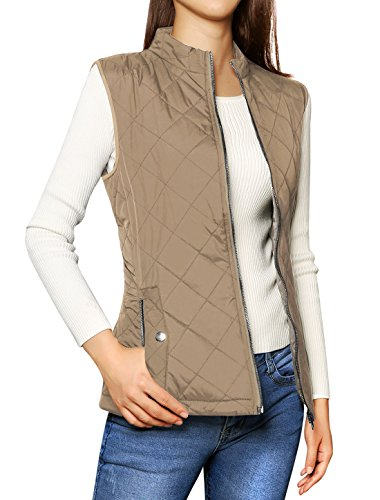 Allegra K Women's Zip Up Front Stand Collar Quilted Padded Vest Khaki L (Quilted Vest Women)