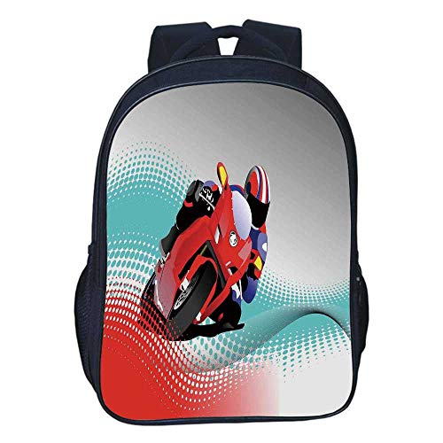 Motorcycle Durable Double black backpack,Biker on Road Digital Dot Background Fast Extreme Risky Leisure Graphic Work For classroom,11.8