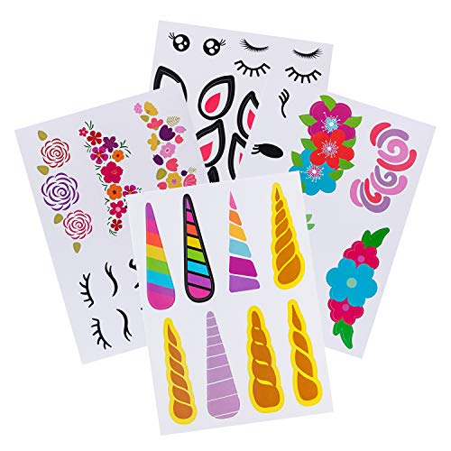 Stickers Kids Favor Birthday (MISS FANTASY Make a Unicorn Stickers Unicorn Party Supplies and Favors for Girls Birthday Party Games and Activities for Kids Set of 24 (Multi))