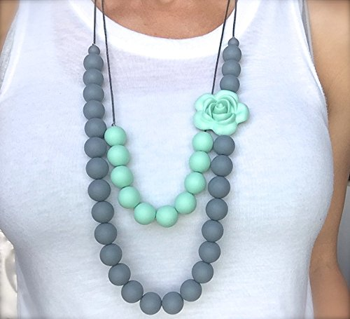 Baby Teething Necklace Mom, Silicone BPA Free