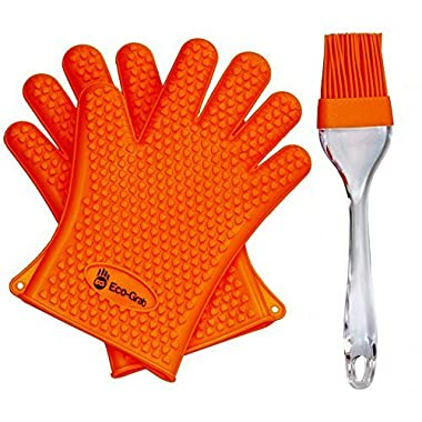NEWEST 2016 EDITION Heat Resistant Silicon Gloves For Barbecue & Oven Use, Made For Grilling, Cooking & Baking + Bonus Silicone Brush By Eco Grab - 1 size fit all