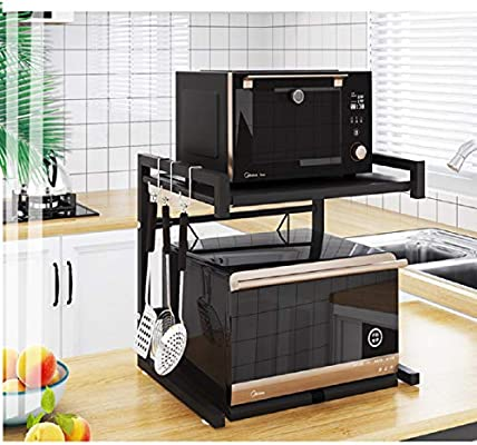 Metal Microwave Oven Rack Toaster Stand Shelf Expandable Kitchen Supplies Tableware Storage Counter Space Saver Cabinet Organizer Spice Holder With 3 Hooks 60lbs Weight Capacity Black Stainless Steel Amazon Sg Home