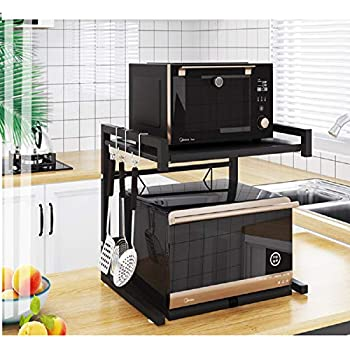 Metal Microwave Oven Rack Toaster Stand Shelf Expandable Kitchen Supplies Tableware Storage Counter Space Saver Cabinet Organizer Spice Holder with 3 Hooks, 60lbs Weight Capacity Black Stainless Steel