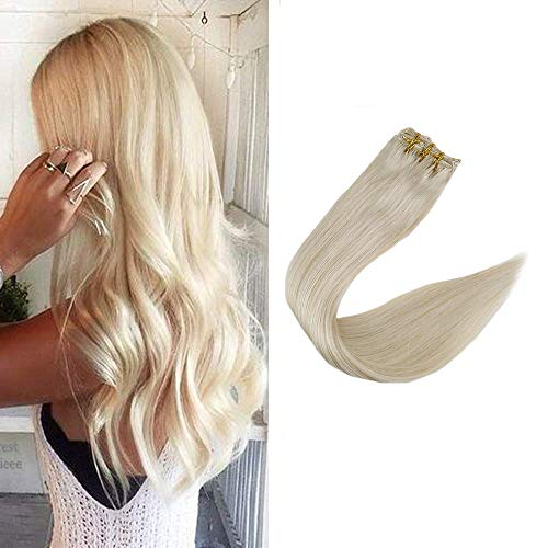 Full Shine 24 inch Platinum Blonde Clip in Human Hair Extensions Full Head Thick Real Hair Extensions 9Pcs 100gram Per Set Clip in Hair Remy Extensions (Hair Extensions Full Head Blonde)