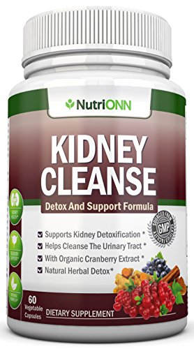 KIDNEY CLEANSE - Detox and Support For Urinary Tract, Bladder and Kidneys - All Natural Herbal Supplement Formula With Organic Cranberry, Astragalus, Turmeric, Goldenrod, Gravel Root, Juniper and More