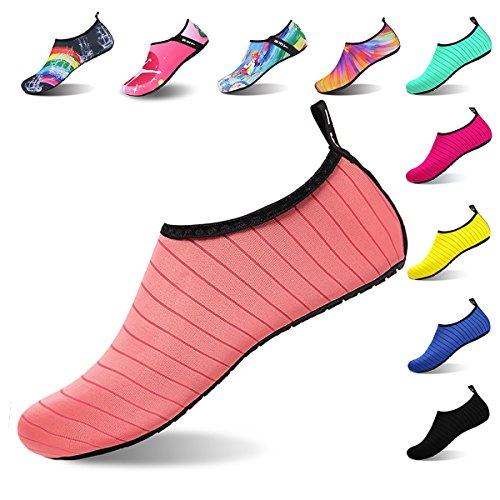Womens and Mens Water Shoes Barefoot Quick-Dry Aqua Socks for Beach Swim Surf Yoga Exercise (TW.Pink, M)