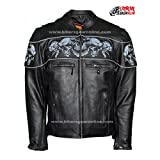 Mens Biker Riding high visibility reflective embriodery Skull Leather Jacket New (L Regular)