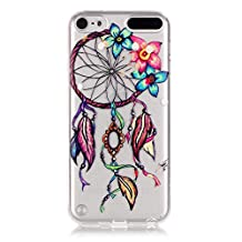 iPod Touch 5 Case Clear, iPod Touch 6 Case, Bright Slim Fit Transparent Soft Rubber TPU Gel Silicone Case Protective Cover Skin for Apple iPod Touch 5 6th Generation (Colorful Flower Dreamcatcher)