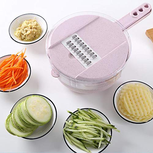 Gotian New !!! Wheat Straw Multi-function Cutter Food Chopper Kitchen Grinding Device 8 Pieces - 4 Different Blade Types - Food Chopper (29x18.8x9.5cm) (Pink)