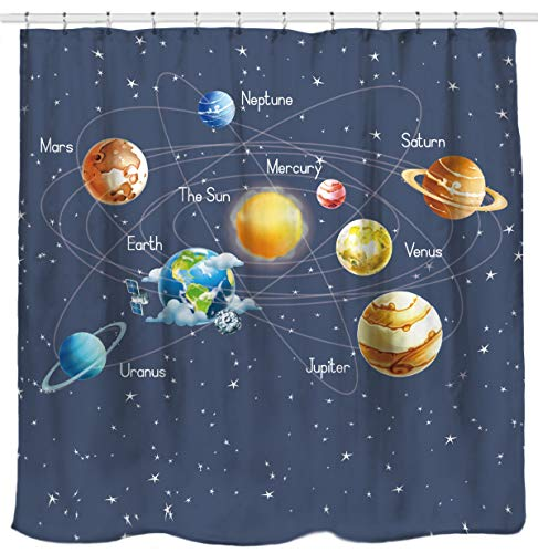 Curtain Mars - Sunlit Solar System Planets Stars and Milky Way Galaxy Space Fabric Astronomical Shower Curtain with The Sun Mercury Venus Earth Mars Jupiter Saturn Uranus Neptune Cosmos Nebula Gray Pale Blue