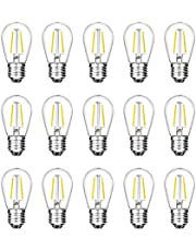 2W LED S14 Replacement Light Bulbs E27 Base Shatterproof Retro Edison Bulbs for Waterproof Outdoor Commercial String Lights(15pcs)