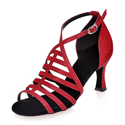 L@YC Female Dance Shoes Latin Satin With / Gold / Brown / White / Black / Red / Blue Customizable # Red pPCTkvIJ2C