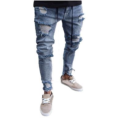 OHQ Jeans Trous Stretch à GlissièRe pour Hommes Bleu Pantalon en Denim Extensible  Skinny Homme DéChiré 547ac70be42