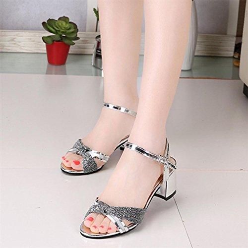 Vovotrade® Frauen Fashion Sommer Mid Heel Flip Flop Sandalen Schuhmacher Böhmen Schuhe Silber