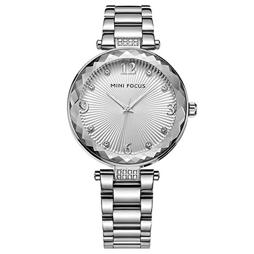 Designer Silver Watch for Women - Fashion Ladies Chain Stainless Steel Bracelet Wristwatch Quartz Radial Pattern Face