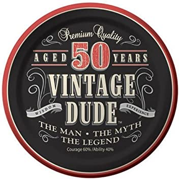 Creative Converting 8 Count Vintage Dude Round Dinner Plates - 425567