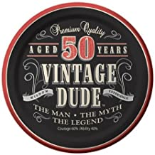 Creative Converting 8 Count Vintage Dude 50th Birthday Round Dessert Plates