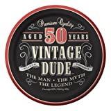 Creative Converting 8 Count Vintage Dude 50th Birthday Round Dessert Plates - 411567