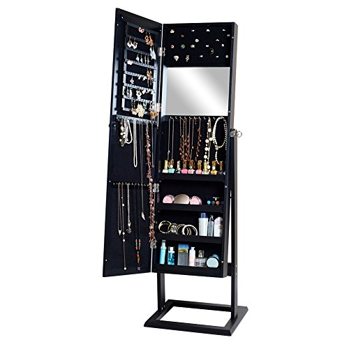 GLS Black Jewery Armoire Cabinet with Outside and Inside Mirror Wall Mount/Stand Rings Organizer