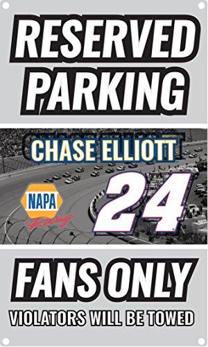 Sign Nascar Parking (NASCAR Reserved Parking for #14 Chase Elliot Fans Only Sign-NASCAR Metal Parking Sign)