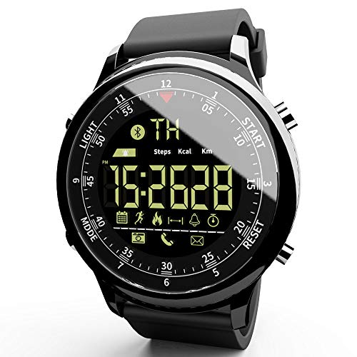 MOKA Sports Digital Smart Watch - Women Men Waterproof Bluetooth Smart Wrist Watch, Smartwatch with Walking Calories,Remote Camera, Call/SNS/SMS Reminder for iOS and Android (Black)