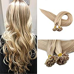 """Full Shine 16"""" 1g per Strand 50gram Ash Blonde Highlighted Ombre U Tip Hair Extensions Straight Pre Bonded Nail Keratin U Tip Fusion Hair Remy Human Hair Extensions"""