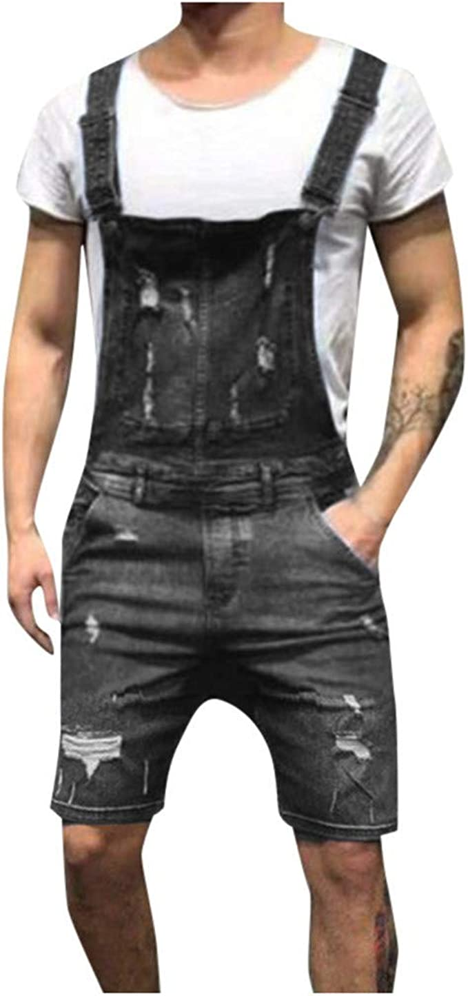 yoyorule Casual Pants Mens Overall Casual Jumpsuit Jeans Wash Broken Pocket Trousers Suspender Pants