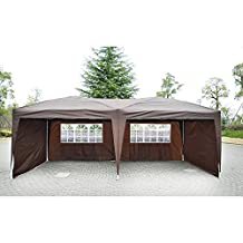 Outsunny 10'x20' Pop Up Party Tent Outdoor Patio Instant Wedding Canopy Shelter with 4 Side Walls (Brown)