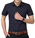 YTD Men's Business Casual Short Sleeves Dress Shirts (Large, H-Navy)