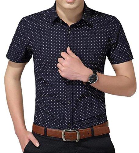 YTD Men's Business Casual Short Sleeves Dress Shirts