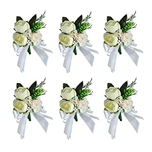 HiiARug White Rose Boutonniere Set of 6 Wedding Boutonnieres with Pins for Groom Groomsmen Flower Boutonnieres for Wedding Party Prom Man Suit Decoration (D Boutonnieres White 6PCS)