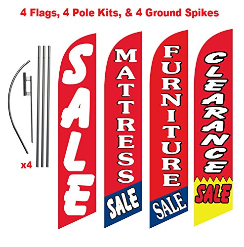 Mattress and Furniture Outlet Advertising Package of Four Feather Flag Kits and Stakes, Mattress Sale, Furniture Sale, and Sale