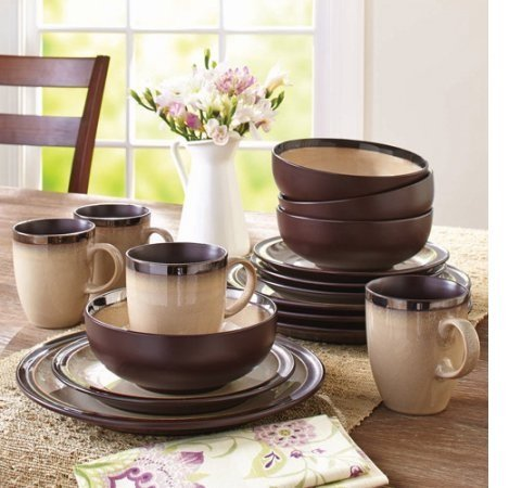 Better Homes and Gardens 16-Piece Sierra Dinnerware Set with Dinner Plates, Salad Plates, Mugs and Bowls, Beige - Piece Home 16