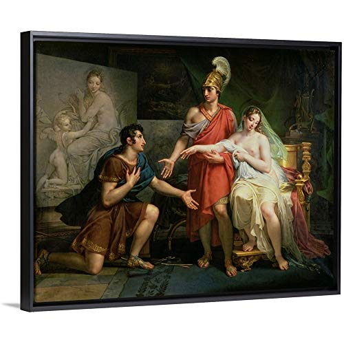 """Charles Meynier Floating Frame Premium Canvas with Black Frame Wall Art Print Entitled Alexander The Great (356-323 BC) Hands Over Campaspe to Apelles, 1822 20""""x16"""""""