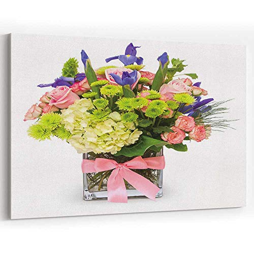 - Actorstion Colorful Floral Bouquet Glass Vase with P k Ribb Isolated Canvas Pr ts Wall Art,Wall Art Canvas