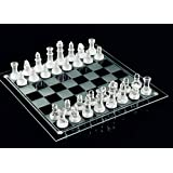 Fine Glass Chess Game Set, Solid Glass Chess Pieces and Crystal Mirror Chess Board 10 x 10 inches For Youth Adults Gift