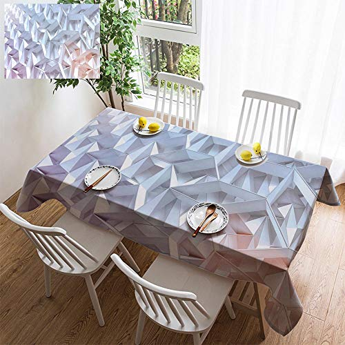 HOOMORE Simple Color Cotton Linen Tablecloth,Washable, Abstract Geometric Background with 3D Shapes and Light Decorating Restaurant - Kitchen School Coffee Shop Rectangular 35×35in