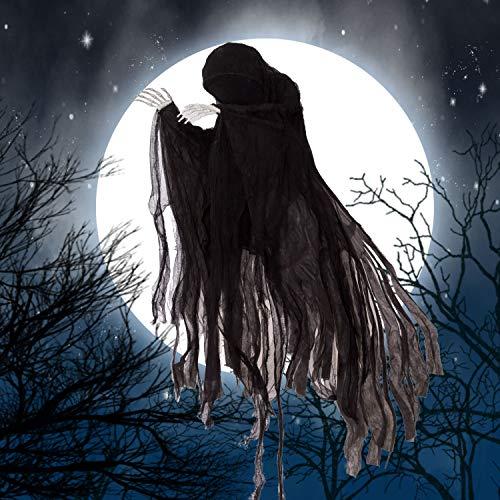 5 Ft Dark Hanging Grim Reaper, Faceless Ghost in Black Horror Robe for Best Halloween Hanging Decorations