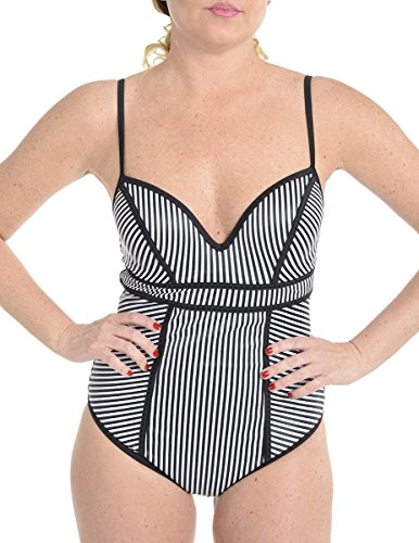 SPANX Sweetheart One Piece Swimsuit, BLACK THIN STRIPE, 10