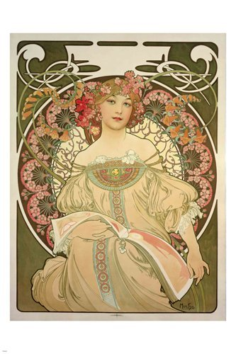 Alphonse Mucha Flowers - HSE CHAMPANE printer PUBLISHER vintage POSTER 1897 A Mucha 36x24 FLOWERS girl