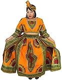 African Planet Women's 3 PC set Crop Top High Slit Elastic Waist Skirt headwrap (Orange)