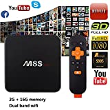 Henscoqi M8S PRO Amlogic S905 2G 16G Android TV Box Support Dual Wifi(2.4G/5G) Bluetooth 3D 1080P Streaming Media Player