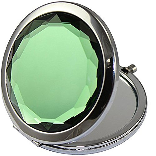 - ADAMAI Crystal Folding Makeup Mirror Handhold Metal Round Hand Compact Pocket Cosmetic Magnified Mini Mirror (Green)