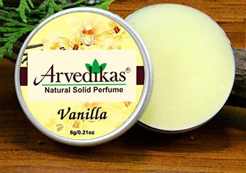 - Arvedikas Vanilla Natural Solid Perfume Beeswax/Mini Jar/Floral Fragrance/Vanilla Perfume Organic Vegan Travel Perfume/Women Aromatic Scent/Pocket Size Parfum / 6gm (30 Varieties) (Vanilla)