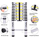 Ohuhu 12.5 FT Aluminum Telescopic Extension Ladder, Thumb Buttons Lock Design EN131 Certified Extendable Telescoping Ladder with Spring Loaded Locking Mechanism Non-slip Ribbing 330 Pound Capacity