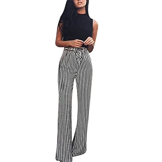e3dc7aca55b Women s Casual Palazzo Pants Belted Striped High Waisted Chiffon Flowy Wide  Leg Pants (S