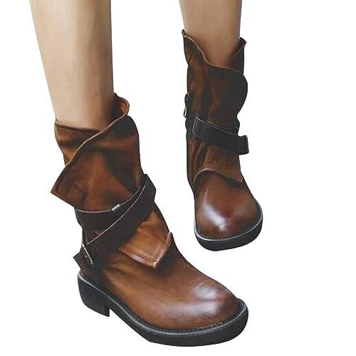 Botines de Mujer,Amlaiworld Botas Militares Unisex Adulto Zapatos con Hebilla de Cuero Artificial de Mujer Botas Militares para Mujer Zapatos de niña: ...